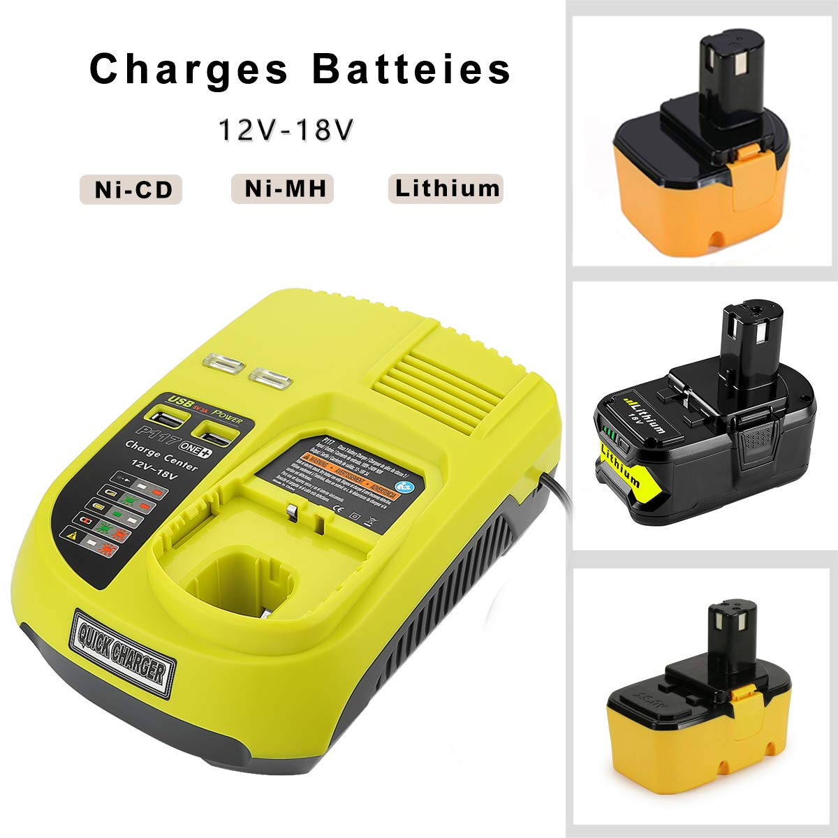 12v-18V For Ryobi P117 Rechargeable Battery Charger Battery Pack Power Tool Ni-Cd Ni-Mh Li-Ion P110, P111, P107