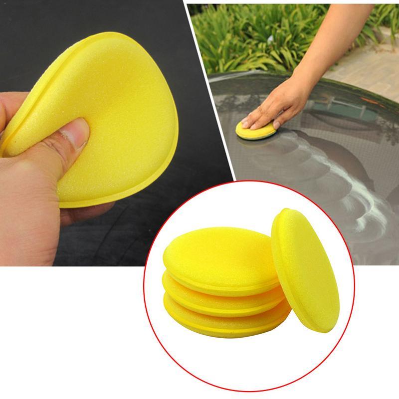 12 Pieces Car Vehicle Wax Polish Foam Sponge Hand Soft Wax Yellow Sponge Pad/Buffer For Car Detailing Care Wash Clean Tool