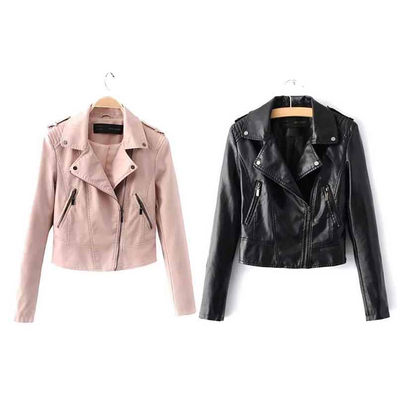 Korean Version Temperament PU   Leather   Lapel Zipper Short Slim Motorcycle Windproof Warm Solid Color Spring Autumn Winter