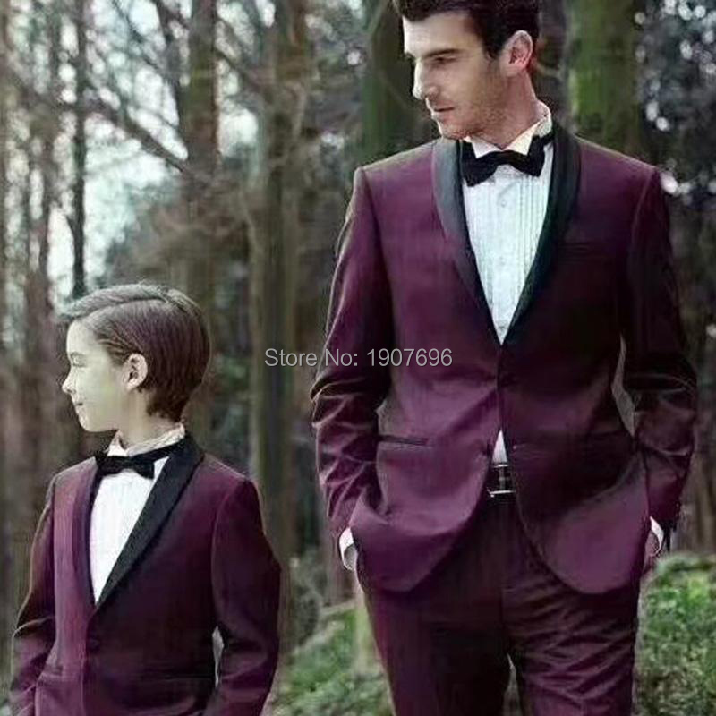 Burgundy Wedding Tuxedo For Groom Men Suit Two Pieces Black Shawl Lapel Male Blazer  (jacket+pants)