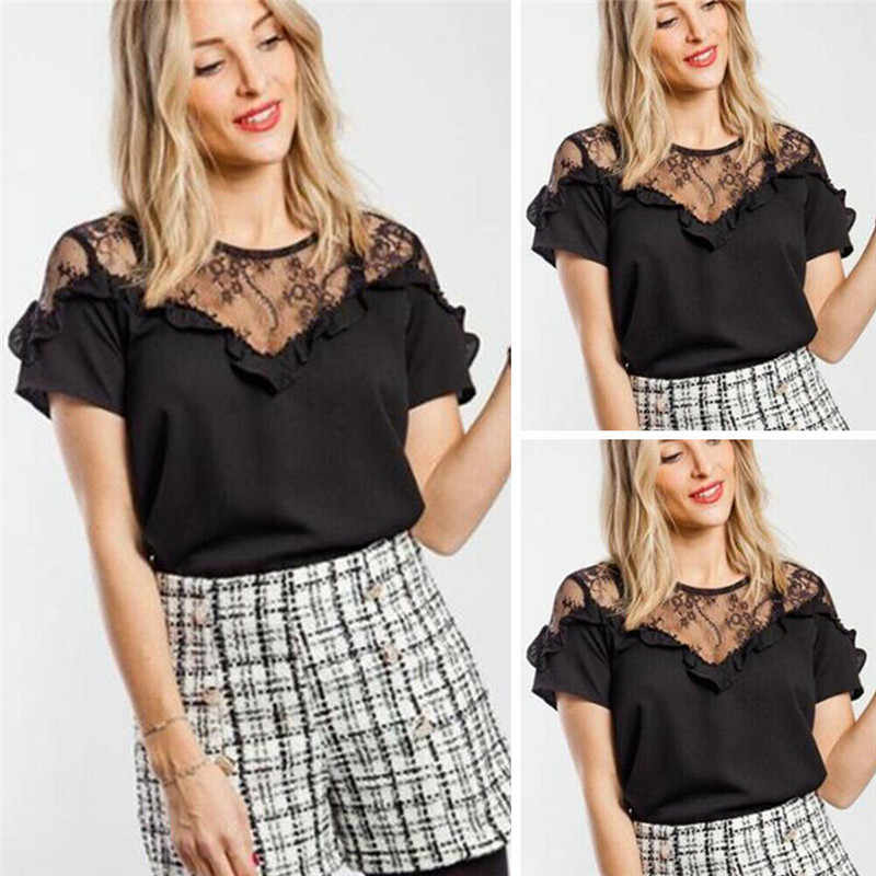 Women Lady Casual Summer Clothing Short Sleeve Lace Patchwork T-Shirt Ruffle See-through O-Neck Tops Pullover Women Clothes