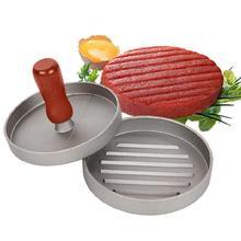 Деревянная ручка круглая форма гамбургер прижимной бургер мясо говядины Патти производитель плесень кухонный инструмент 12 см
