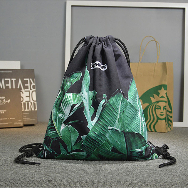 Banana Leaf Print Sports Drawstring Bag