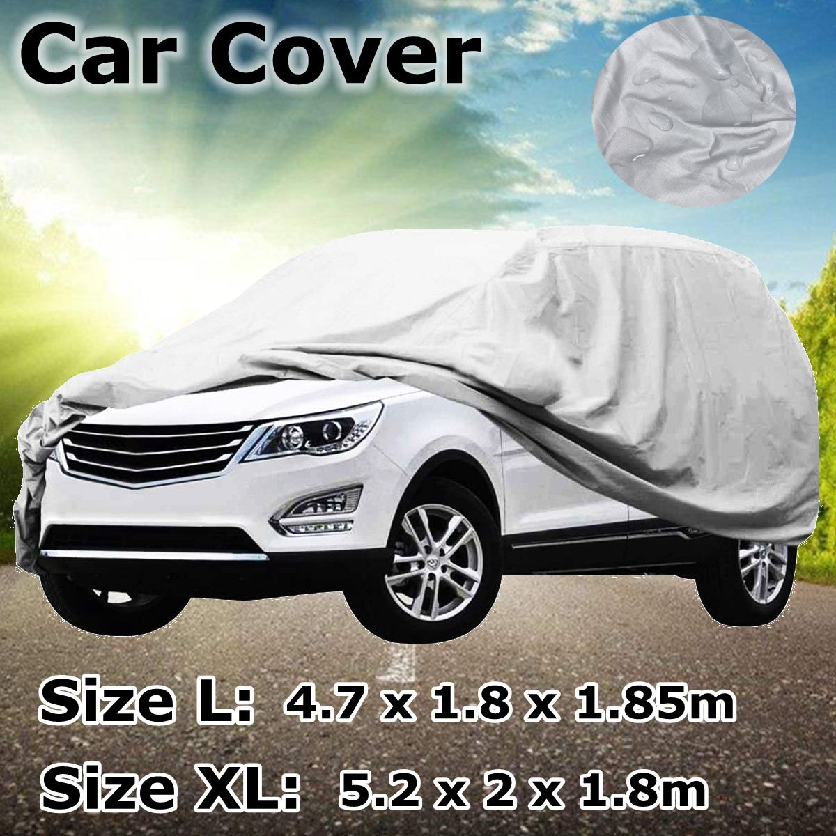 Car Cover L/XL Size SUV Full Car Covers Snow Ice Sun Rain Resistant Protection Waterproof Dustproof Outdoor Indoor