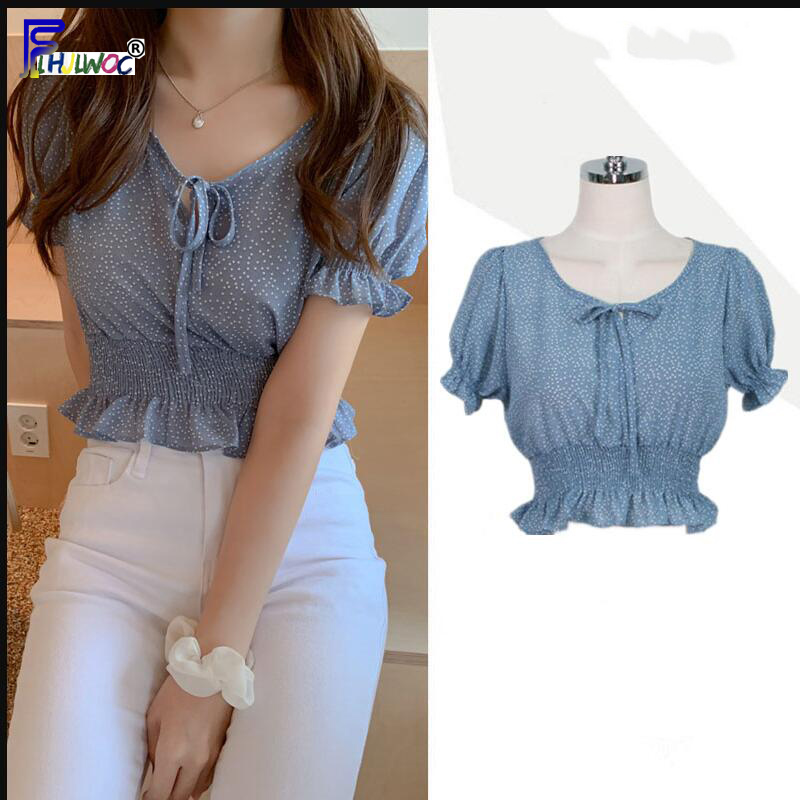 Crop Tops Womens Fashion Summer Short Sleeve Slim Fit Bow Tie Short Top <font><b>Blue</b></font> <font><b>Polka</b></font> <font><b>Dot</b></font> Blouse <font><b>Shirts</b></font> Korean Style Clothes 5011 image