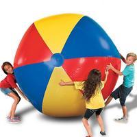80 см/100 см/150 см гигантский надувной пляжный мяч большой трехцветный утолщенный ПВХ водный волейбол Футбол открытый вечерние Вечеринка Детс...