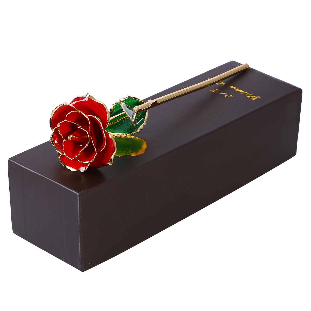 Blooming Lacquered 24K Gold Roses Plated Real Rose Birthday Valentines Day Anniversary Gift With Souvenir Bag Holiday Supply
