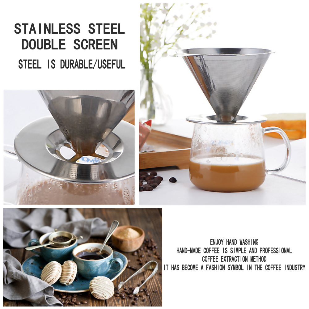 S.S.Coffee Filter Pour Over Funnel Brew Drip Tea Metal Mesh Basket Reusable Kitchen Coffeeware Heat Insulation Silicone Handle