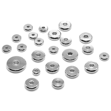 Aiovlo 50pcs/lot 4 5 6 8 10mm Stainless Steel Flat Round Bead Loose Spacer Beads for DIY Jewelry Making Accessories Wholesale