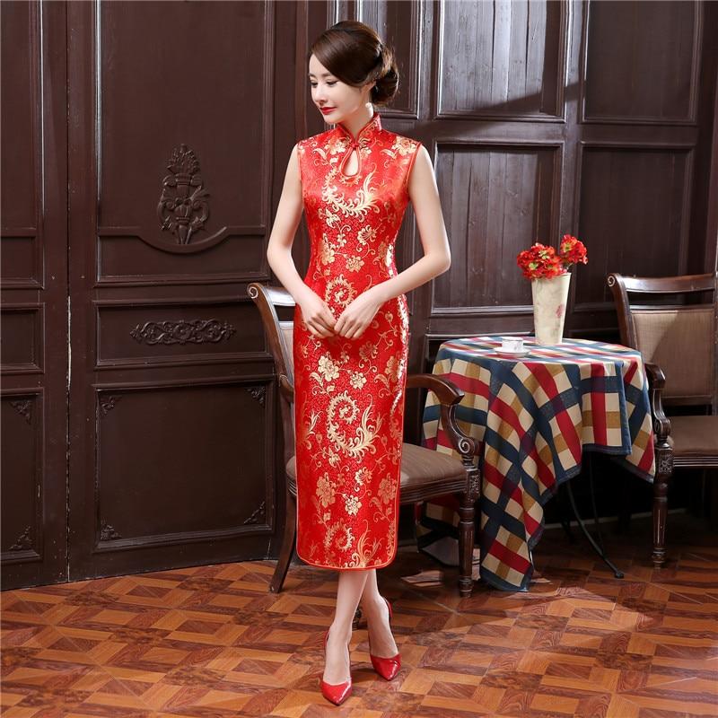 Sheng Coco Red Sleeveless Long Chinese Dresses Phoenix Tail Pattern Cheongsam Phoenix Drop Long Chinese Qipao Dress Robe Rouge