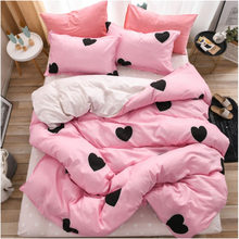 Pink Love Bedding Set Cute Heart Printed Duvet Cover Set Bed Sheet Pillowcase Women Bedclothes Home Textiles(China)