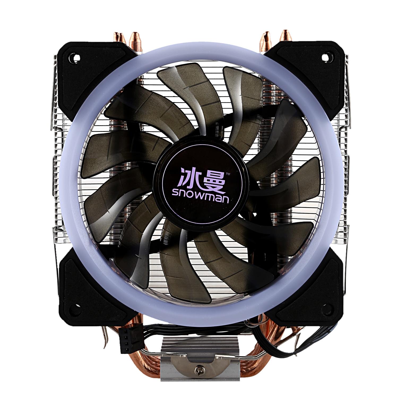 Bonhomme de neige LED refroidisseur de processeur Master 4 caloducs à Contact Direct gel tour système de refroidissement CPU ventilateur de refroidissement avec ventilateurs PWM