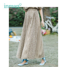 INMAN Summer High Waist Literary Floral Striped Retro Holiday Style All Matched A-line Slim Women Skirt(China)