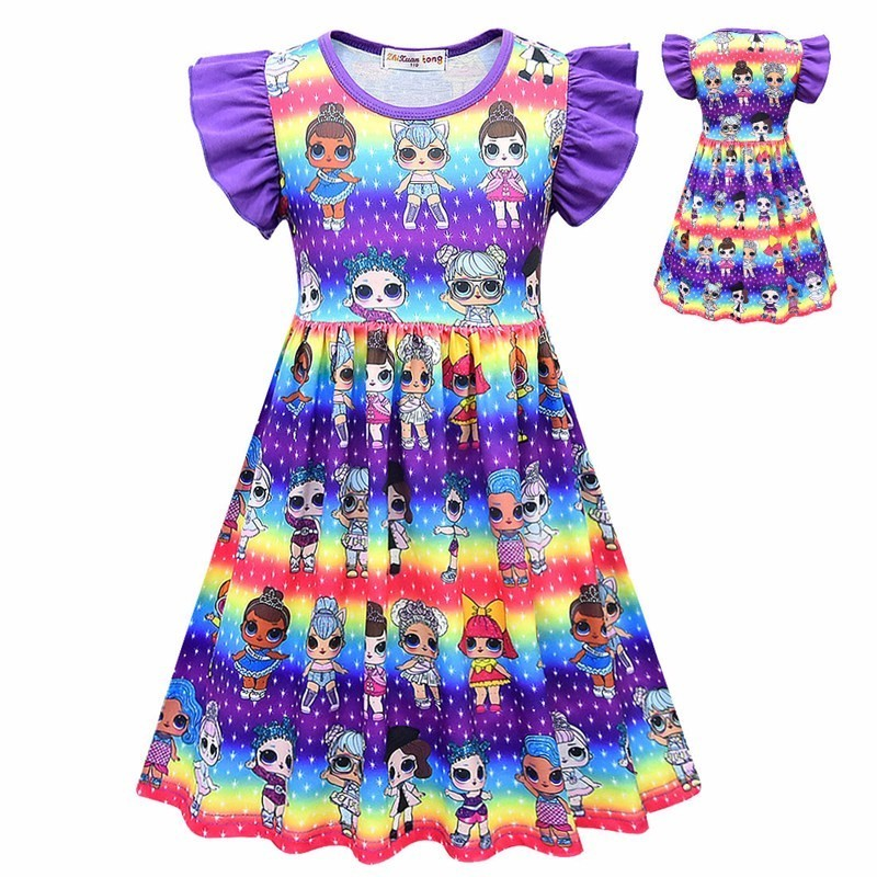 Kids Retro Surprise Puff Sleeve Dress Girl Birthday Party Cartoon Doll Bohemian Dress Christmas Halloween Lolita Cosplay Costume