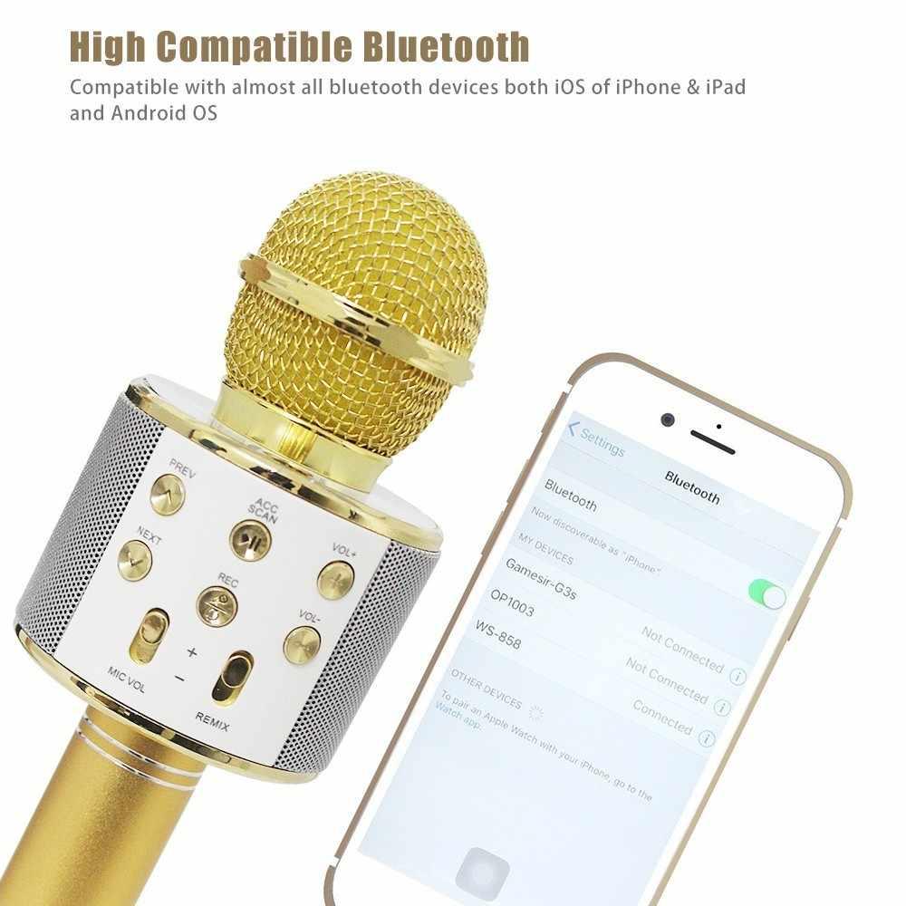 Micrófono de mano condensador inalámbrico Portátil con Bluetooth, altavoz incorporado, micrófono de Karaoke, Compatible con PC/iPad/iPhone/Smartphone