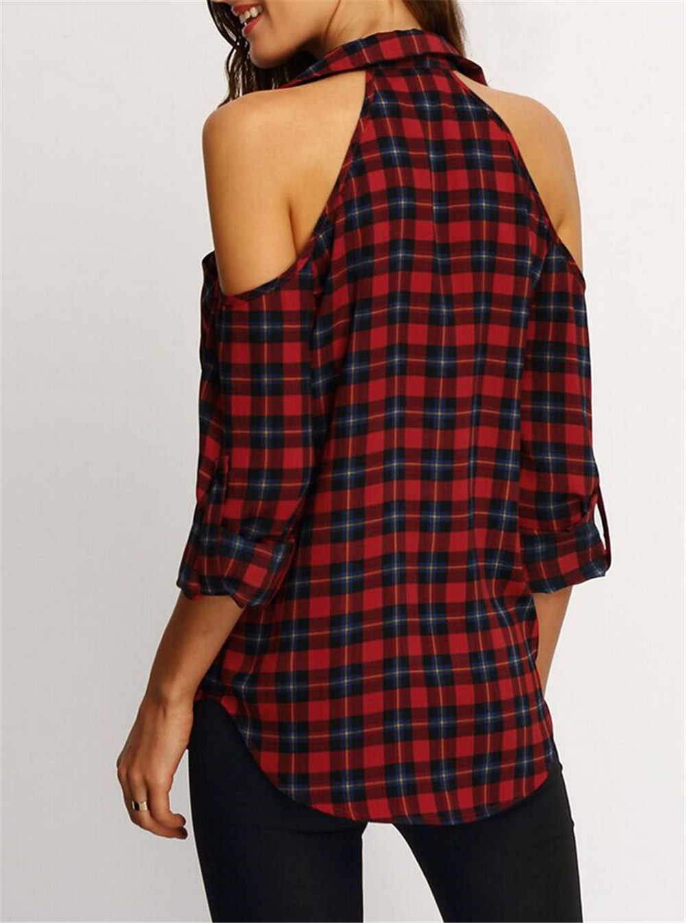 ฤดูร้อนผู้หญิงลายสก๊อตเสื้อเสื้อนอกแขนยาวเสื้อลำลองเสื้อหลวมเสื้อสไตล์หญิงเย็นไหล่เสื้อ