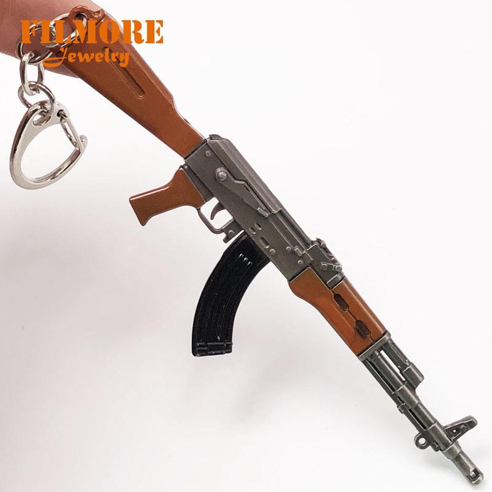 Competent 12cm Pubg 7.62mm Weapon Rifle Akm Model Key Chains Ak 47 Toys Gun Keychains Llaveros Chaveiro Sleutelhanger Key Ring Keyring Lustrous Key Chains Jewelry Sets & More