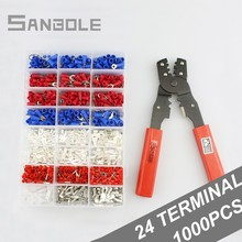 цена Terminal box and Plier Wire Connection Cold Pressed End Tube Copper Joint Wire Connector Combination sets 24 types of terminals онлайн в 2017 году