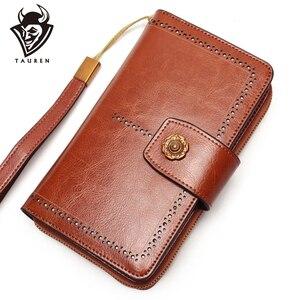 Image 1 - Женский кошелек, деловой клатч из натуральной кожи, съемный браслет кошелек, скользящая многофункциональная сумка с зажимом для телефона
