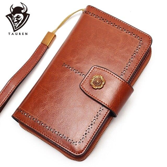 Women Wallet Genuine Leather Business Clutch Bag Detachable Wristband Wallet Slidable Phone Clip Design Multi-Function Bag
