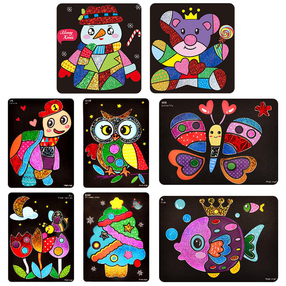 Color:  New Glitter Paper Magic Art Painting Toys Kids Coloring DIY Crafts Learning Education Color Art Painting Card - Martin's & Co