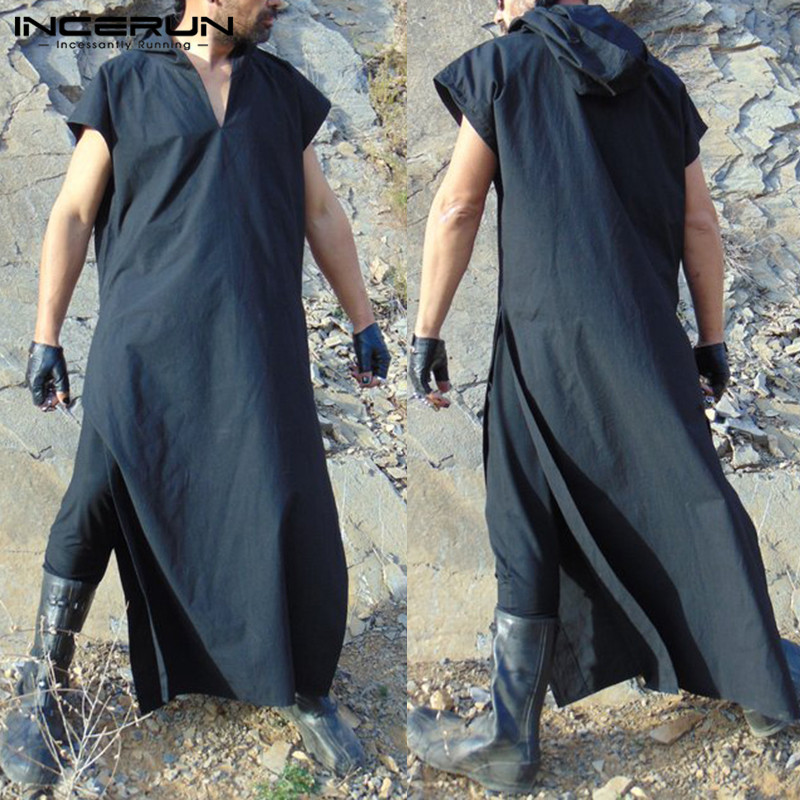 Men Coat Robe V-neck Short Sleeve Hooded Solid Full Length Men Robe Boho Punk Gothic Loose Islamic Kaftan Tunic Outfits INCERUN