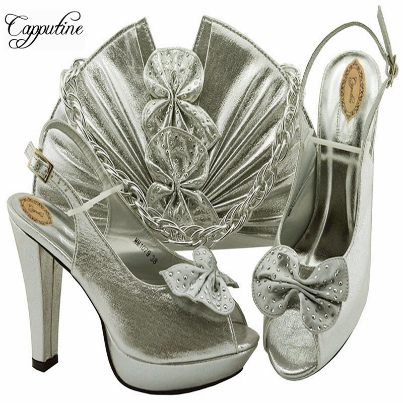 Silver Color Fashion Italian Woman Shoes And Bag Set PU Material African High Heels Shoes And Bag Set For Wedding M1079Silver Color Fashion Italian Woman Shoes And Bag Set PU Material African High Heels Shoes And Bag Set For Wedding M1079