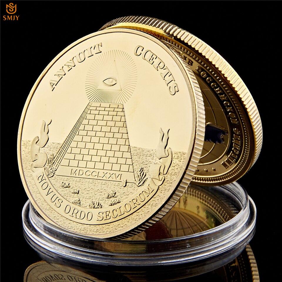 a62d959cf59e UU. emblema mundo símbolo masónico oro pirámide egipcia moneda  conmemorativa de valor
