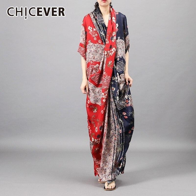 CHICEVER Summer Vintage Print Patchwork Women Two Piece Set Criss Cross Floor Length Dress With Black