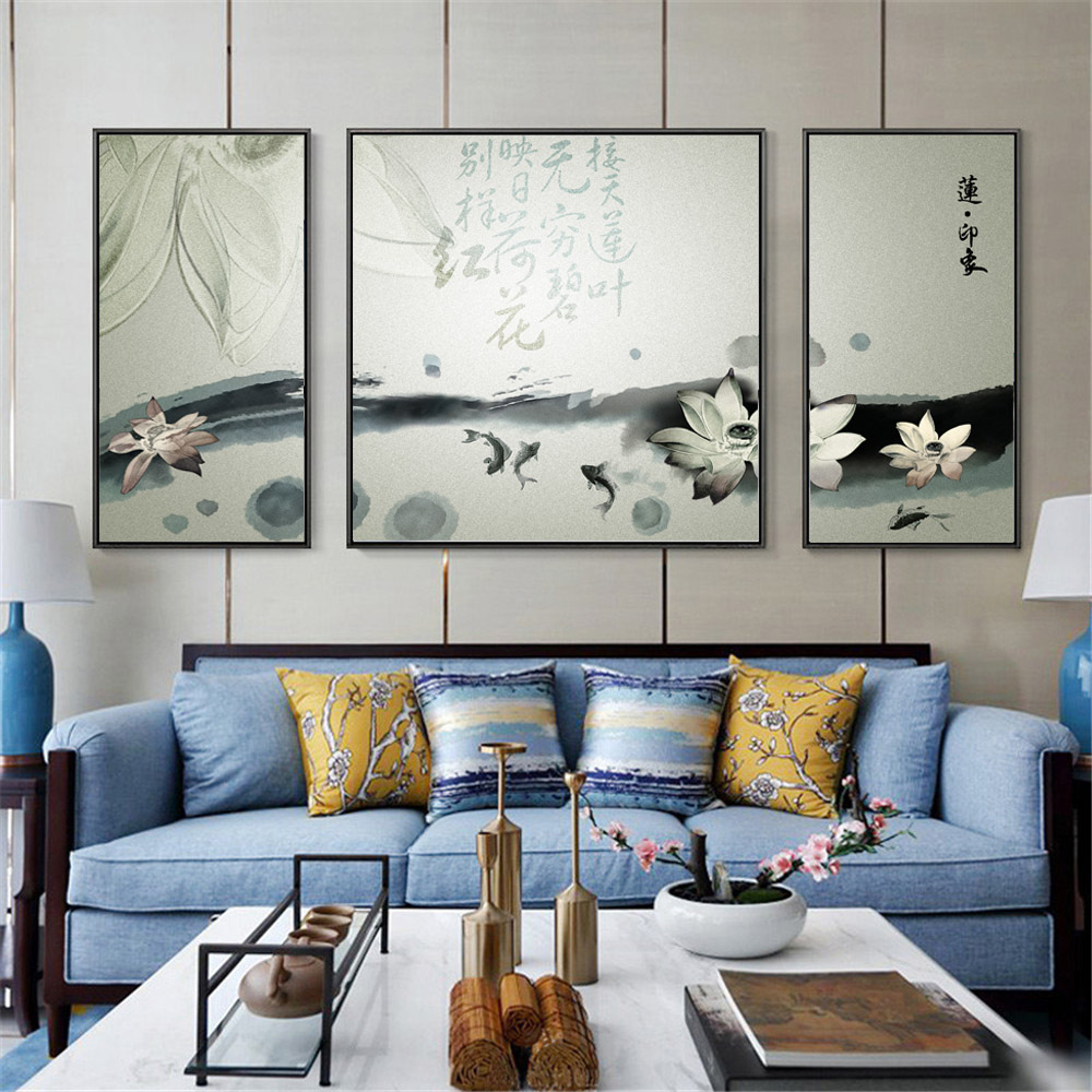 Triple Traditional Chinese Ink Painting Abstract Lotus and Fish Landscape Canvas Printing Wall Art Picture for Office Home Decor