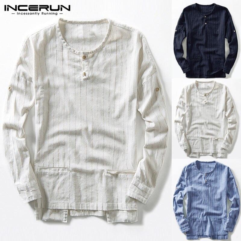 Stylish Cool Men T Shirt Long Sleeve Casual Tee Crew Neck Pockets Shirt Men Clothes Beach Shirt 5XL Camisas Masculina 2019