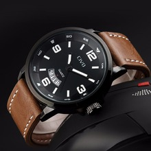 цены CIVO Fashion Casual Quartz Watch Waterproof Business Simple Design Watches Calendar Genuine Leather Wristwatch For Men Clock