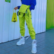Harajuku Korean Womens Rompers Overalls Neon Green Cotton Jumpsuit Capri High Waist with Chain Pocket Playsuits