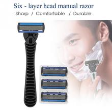 Handle + 6pcs Six-layer Blade Male Face Cleansing Care Hair Removal To