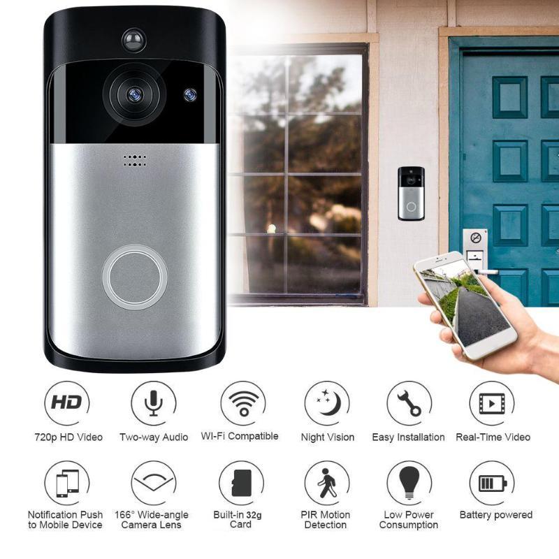Smart WiFi DoorBell 720P HD Visual Intercom Recording Video Remote Home Monitoring Night Vision Video Door Phone
