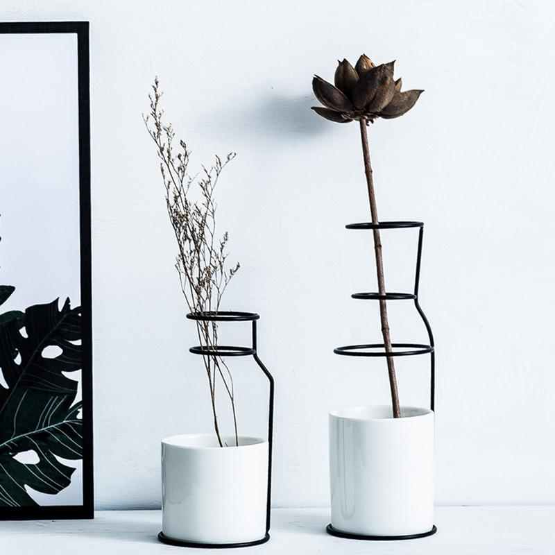 Nordic Simple Style Marble Pattern Table Vase Iron Stand Ceramics Art Flower Pot Home Wedding Living Room Decoration