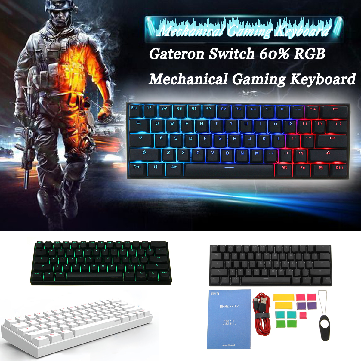 [Gateron Commutateur] Obins Anne Pro 2 60% NKRO bluetooth 4.0 Type-C RGB Mécanique clavier de jeu