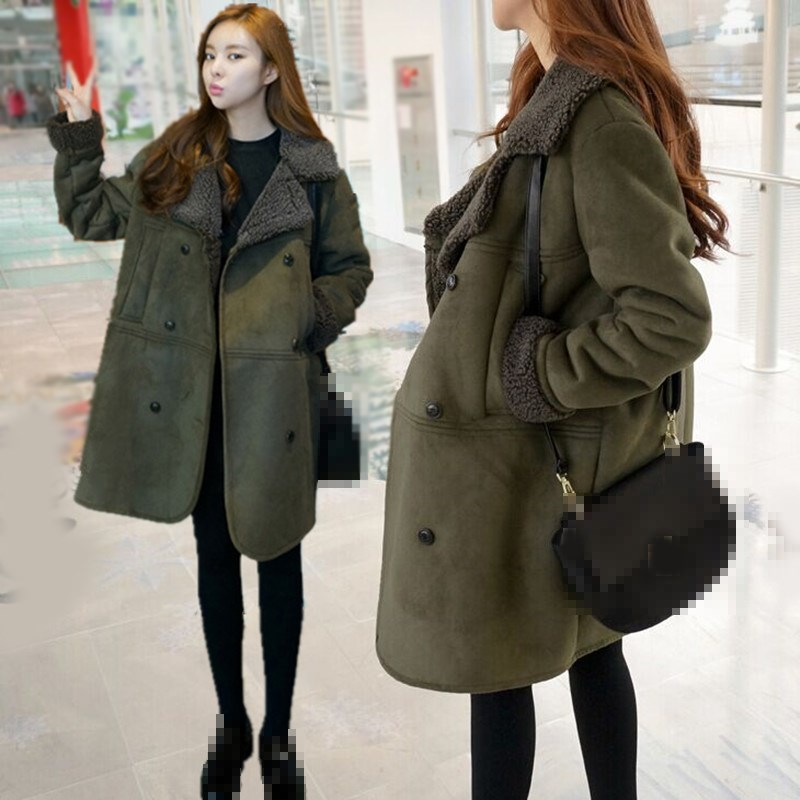2018 Autumn Winter Women Long   Suede   Coat Pocket Long Sleeve Faux   Leather   Jacket Casual Lambs Female Warm Plus Size Coat