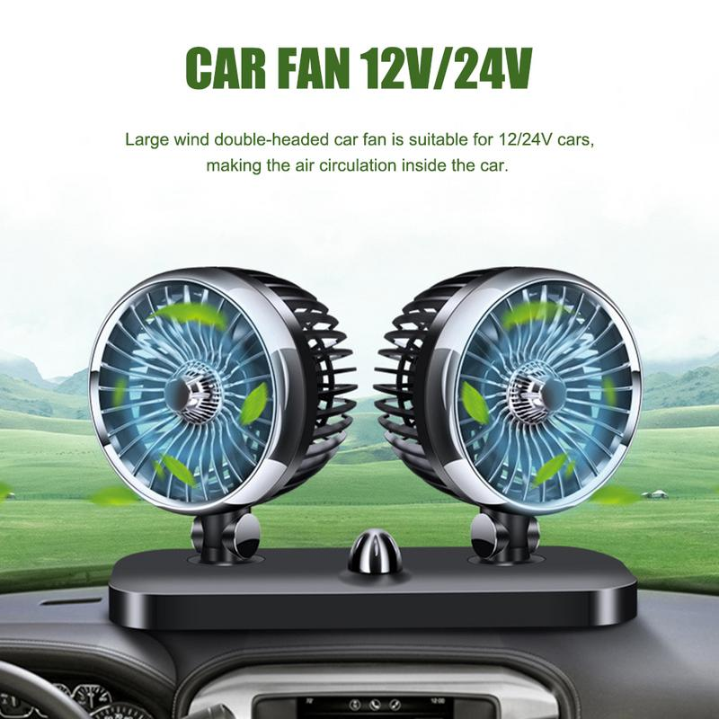Car Fan 12V 24V Truck Universal Double Head Powerful Cooling Electric Wind 12v