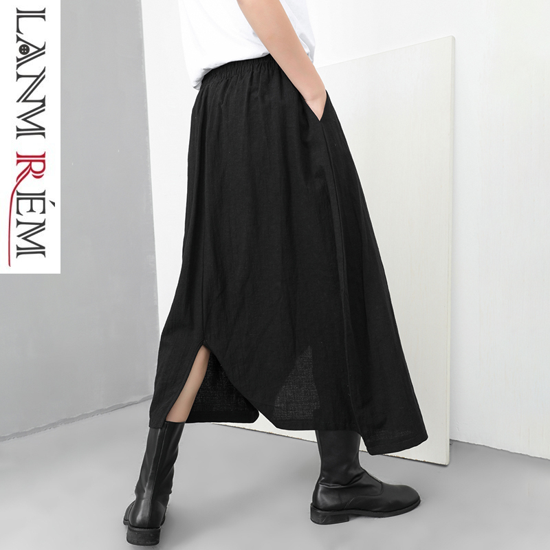 LANMREM 2019 New Fashion Black Vent Bottoms Black Ankle-Length   Wide     Leg     Pants   For Women Elastic Waist Trousers Female YG25301