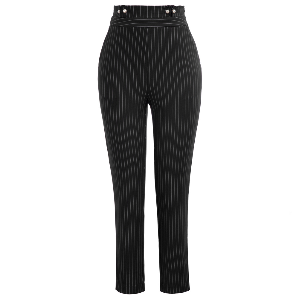 GK Women's Pinstripe High Waist Faux Pearl Decorated Ankle   Pants     Capri