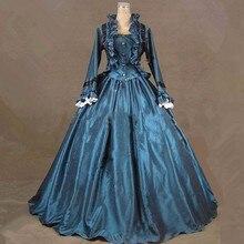 Синее сатиновое платье с длинным рукавом в готическом стиле, костюм Лолиты, бальное платье в викторианском стиле на Хэллоуин, карнавал, платья для косплея для женщин