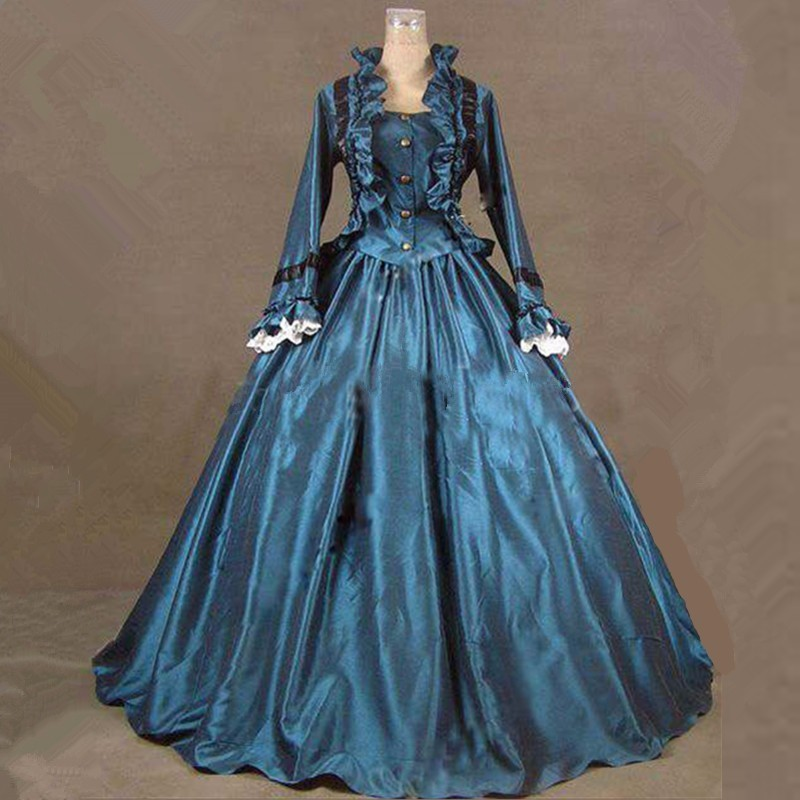 Blue Satin Long Sleeve Petticoat Gothic Dress Lolita Costume Victorian Ball Gown Halloween Carnival Cosplay Dresses For Women
