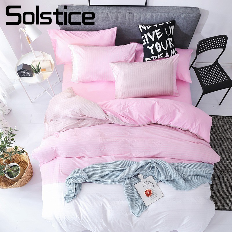 Solstice Home Textile Pink White Bedding Sets Duvet Cover Pillowcase Flat Sheet Girl Kid Adult Woman Bed Linens Queen BedclothesSolstice Home Textile Pink White Bedding Sets Duvet Cover Pillowcase Flat Sheet Girl Kid Adult Woman Bed Linens Queen Bedclothes