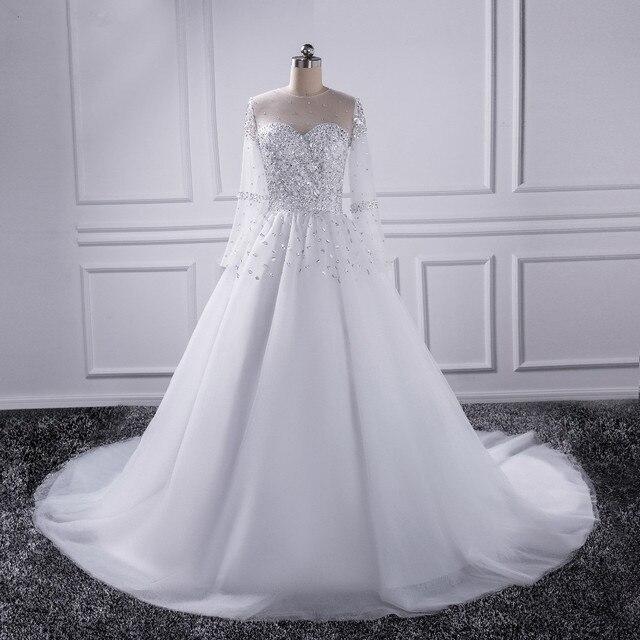 2019 vestidos De noiva Beautiful Sheer Sleeve Wedding Dress New Long Sleeve Bridal Gown Rhinestones Pearls Crystals Ball Gown