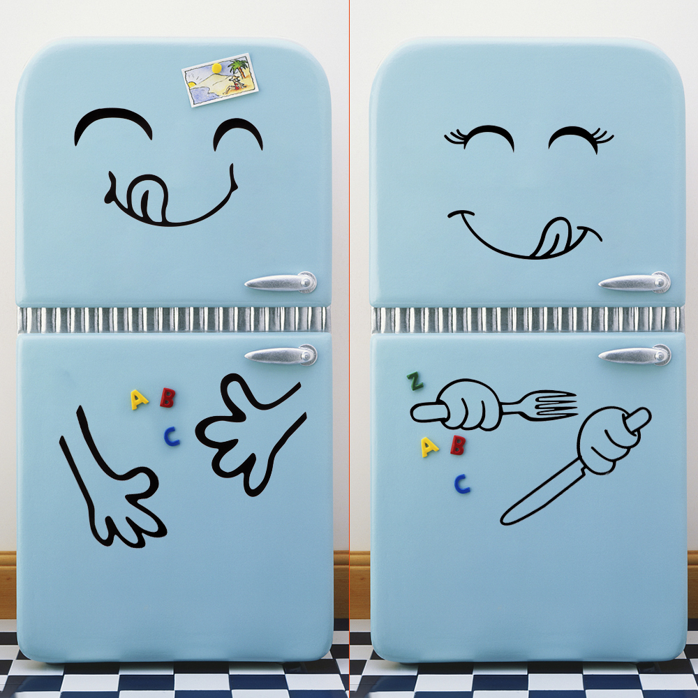 Cute Fridge Sticker Decoration Stickers Home Decors Vinyl Stickers For Kitchen Fridge Wall Wall Stickers Happy Delicious Face