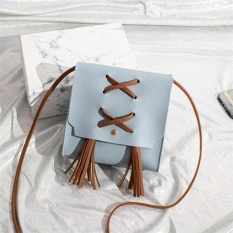 Fashion Women Pu Small Cross Over Body Bag Ladies Shoulder Tassel Handbag Purse Women Messenger