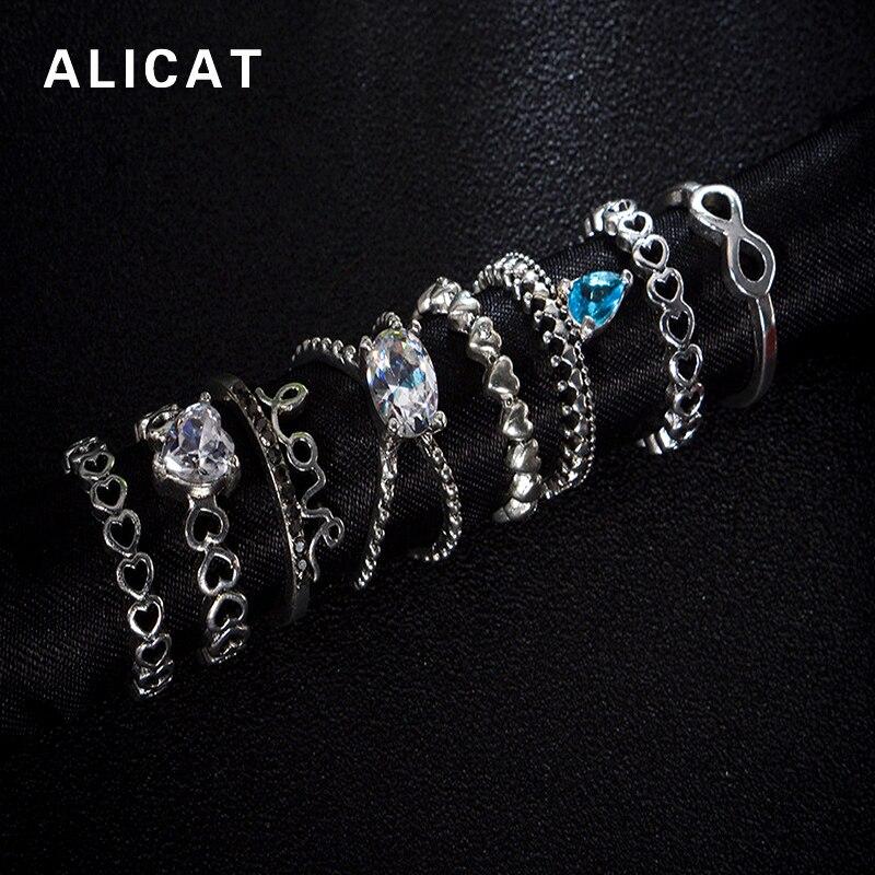 8 Pçs/set de Noivado Casamento Anéis de Dedo para As Mulheres Jóias Bohemian Toe Adolescentes Estrela Anel de Dedo Conjunto de Jóias Acessórios