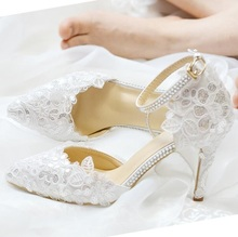 Hot Selling White Lace Crystal Wedding Shoes Bride Pointed Toe Ankle Strap Low Heels Pumps Glitter Sequin Banquet Shoes new hot selling glitter embellished high heel shoes 2018 sexy pointed toe ankle strap woman pumps crystal wedding heels