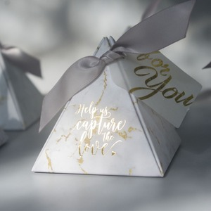 Image 4 - YOURANWISH 50pcs/Lot Creative Marbling style Candy Boxes Pyramid Wedding Favors Party Supplies Baby Shower thanks Gift Box
